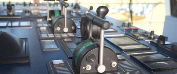 Console de controle do navio com alavancas de controle Lilaas, KINEXTEC